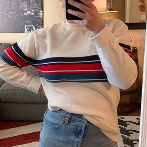 VINTAGE Winter White Red/Blue Striped Sweater